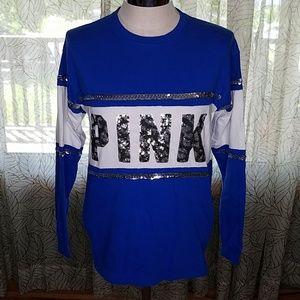 VS Pink XS blue leopard bling shirt sequin Bin6